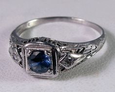 antique sapphire and diamond ring Something Blue!!