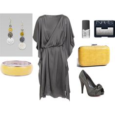 Love the dress...yellow and gray combo!