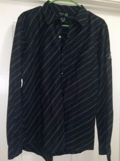 Men's Black w/ White Striped Snap Down Shirt Size M #PleaseSeeTag #SnapDown