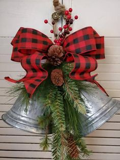 this adorable galvanized bell swag to your farmhouse country christmas decor. Add this adorable galvanized bell swag to your farmhouse country christmas decor.,Add this adorable galvanized bell s. Diy Christmas Tree, Christmas Bells, Outdoor Christmas, Christmas Projects, Christmas Wreaths, Christmas Christmas, Father Christmas, Burlap Christmas Crafts, Christmas Lanterns
