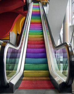 The escalator was first patented by Jesse W. Reno on March 15 Later it was redesigned by Charles Seeberger 1897 when he came up with the name 'escalator.' The escalator has helped us today by making going up and down a lot easier than stairs. Love Rainbow, Taste The Rainbow, Over The Rainbow, Rainbow Colors, Rainbow Stuff, Rainbow Things, Rainbow Pride, Rainbow Gif, Rainbow Candy