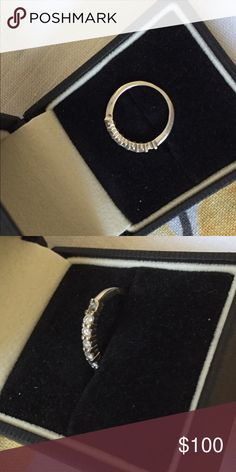 14 karat white gold with real diamonds Ring has six diamonds, missing one. Jewelry Rings