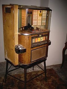 1958 Rock Ola Juke Box 1464 Wall Model w Stand Records | eBay