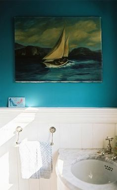 Corner Sink, blue walls above wainscot
