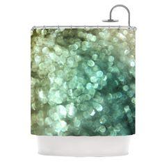 "Debbra Obertanec ""Teal Sparkle"" Green Glitter Shower Curtain"