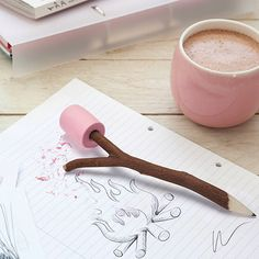 Make keeping notes or doing doodles a lot sweeter with this marshmallow pencil and eraser. This beats any standard HB hands down, with its candy pink marshmallow shaped eraser on top of a pencil that . Cool School Supplies, Cute Office Supplies, Desk Supplies, Cute Stationary School Supplies, School Accessories, Desk Accessories, Cool Stationery, Design3000, Cute Desk