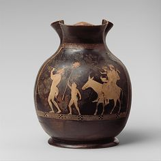 Terracotta oinochoe: chous (jug)  Attributed to the Washing Painter   Period: Classical Date: ca. 430–420 B.C. Culture: Greek, Attic Medium: Terracotta