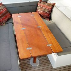 Folding boat table I made for a customer and flown out to Puerto Rico Boat Table, Folding Boat, Boat Interior, Boat Stuff, Puerto Rico, Nook, Camper, Tables, Woodworking