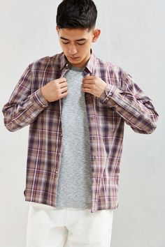 UO Gas Station Plaid Button-Down Shirt - Urban Outfitters