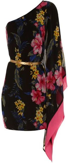 One Sleeve Tropical Dress - Lyst. Usually not a fan of floral print dresses but this is gorgeous!