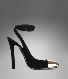 YSL INGENUE HIGH HEEL ANKLE STRAP IN BLACK SUEDE & BRASS