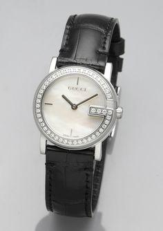 GUCCI Ladies Diamond Leather Strap Watch