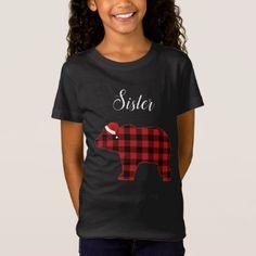 Sister Bear Buffalo Family Chrismtas Pajama T-Shirt - merry christmas diy xmas present gift idea family holidays