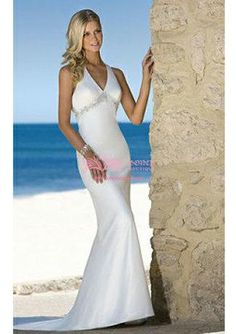 Chiffon V-neck Sheath with Rhinestone Siren Wedding Dress (WDS010348) $189.99