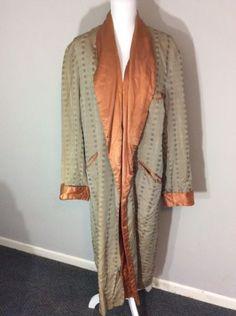 Vintage-1950-039-s-60s-Men-039-s-Robe-GOLD-Brocade-Satin-Smoking-Coat-Jacket-Mad-Men