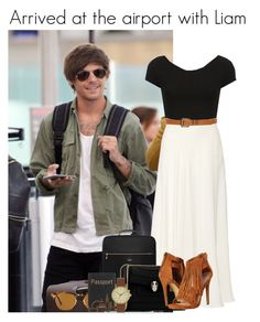 """Arrived at the airport with Louis"" by mllestylesusa ❤ liked on Polyvore featuring Topshop, Elie Saab, Kate Spade, Ray-Ban, Bulgari, Steve Madden, Lovestrength and Void"
