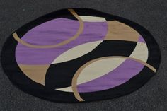 Round Area Rugs, Contemporary, Modern, Rugs On Carpet, Floors, Abstract, Purple, Circular Rugs, Home Tiles
