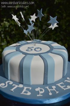 Men's Blue 50th Birthday Cake by Helen Costello #BakeoftheWeek http://casacostello.com/2016/04/19/mens-blue-50th-birthday-cake-bakeoftheweek/