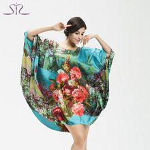 Top di vendita di estate donne di stile di seta pigiama home abbigliamento stampa floreale girocollo plus size donne dormono salotto 10225(China (Mainland))
