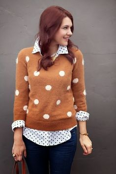 Stylish Polka Dots Shirt with Dotted Sweater