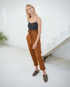 JUDE - Paperbag waist pants - Spice brown