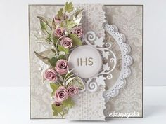 Fancy Fold Cards, Folded Cards, Cool Cards, Diy Cards, First Communion Cards, Spellbinders Cards, Christian Cards, Paper Flower Tutorial, Quilling Cards