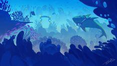 View the Indie DB Underwater Metropolis image Underwater Metropolis - Laser Sharks! Underwater Cartoon, Underwater Art, Landscape Illustration, Landscape Art, Illustration Art, Illustrations, Underwater Background, Cartoon Sea Animals, Aquarium Backgrounds