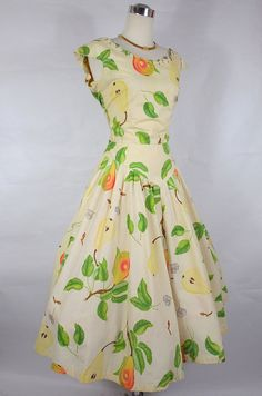 1950's Tori Todd Fruit Print Dress