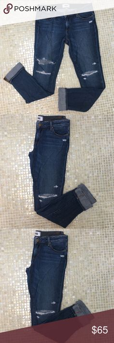 Paige boyfriend jeans destructed edition These are size 26, in good worn condition. They are a destructed boy jean so they are a relaxed fitting jean with holes. PAIGE Jeans Boyfriend