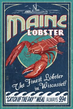 Wiscasset, Maine - Lobster Vintage Sign (36x54 Giclee Gallery Print, Wall Decor Travel Poster) >>> Startling review available here  : Dining Entertaining