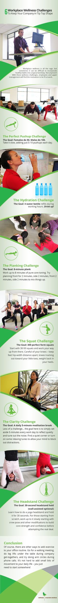 6 Workplace Wellness Challenges: Keep Your Company in Tip Top Shape #infographic