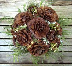 Woodland Wedding Bouquet  - Dried Wedding Bouquet - Cedar Rose & Lichen. $58.88, via Etsy.