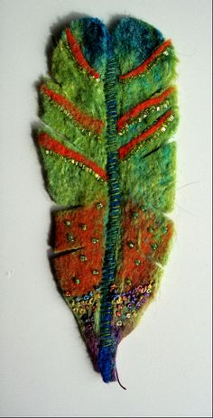 """""""Feather5""""    Felt, silk tops, wool tops, embroidery thread, beads"""