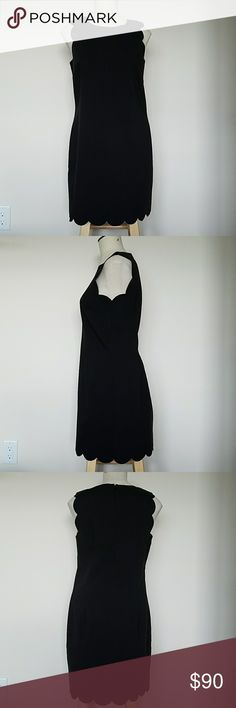 Gorgeous J Crew Black Career Dress size 6 NWT $168 This is a gorgeous J Crew womens black dress with scalloped edges.   Size 6. Brand New with $168 tags on it.  It is a must-have black dress for your collection. Comes from a smoke-free and pet-free home. J. Crew Dresses Midi