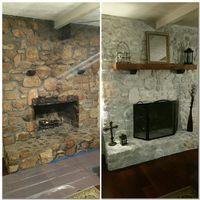 White wash rock fireplace