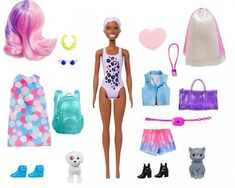 These Barbie Color Reveal dolls deliver the ultimate unboxing experience -- 25 surprises, eight repeat color-change features, two pets, two outfits and a Barb Barbie Chelsea Doll, Barbie Doll Set, Doll Clothes Barbie, Barbie Toys, Barbie Dream, Audrey Doll, Barbie Fashionista Dolls, Doll Videos, Baby Doll Nursery