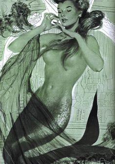 "1953 Cosmopolitan Magazine. ""Every Minute a Mermaid"" story illustration by Thornton Utz."
