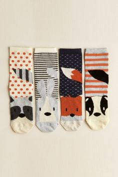 Animals socks are the cutest! Buy Four Pack Woodland Animal Socks from the Next UK online shop Kids Socks, My Socks, Happy Socks, Cool Socks, Funky Socks, Crazy Socks, Kawaii, Textiles Y Moda, Mode Lookbook