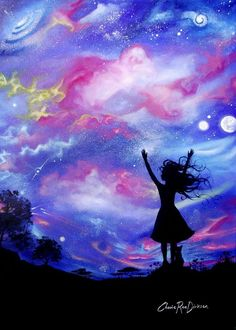 """Every woman has an inner child that dances under the moonlight, makes wishes on stars and loves to dream big!  Remind yourself of your inner princess with this ORIGINAL artwork for only $400.00 #art #originalart #saatchionline  Saatchi Art Artist: Cherie Roe Dirksen; Acrylic 2013 Painting """"Cosmic Celebration"""""""