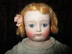 "18"" Antique Lovely Closed Mouth German Bisque Doll Cloth Kid Body Kestner ? 