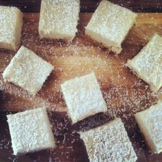Lemon coconut slice. Buckwheat, date and coconut base with a lemon coconut topping. #juliaandlibby