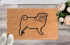 Natural Coir Door Mats with Attractive Printed Designs to Welcome your Guests. The tough hardwearing Coir Brush Surfaces keeps the dirt away from your home. Mats are available in rectangular, half, round, oval and oblong shapes in all regular sizes. Ideal for covered entranceways and patios. Coir surface with Anti slip backing. Made from natural coconut fibers called coir. Natural coconut fibers enhance beauty and offer superior cleaning performance. Material: Coir  Size (L X W): 45 cm x 75… Coir Doormat, Door Mats, Cute Pugs, Orange Color, Coconut, Surface, Shapes, Cleaning, Printed