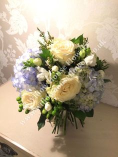 Blue Hydrangea and White Rose - beautiful luxury flower bouquet - created by Willow House Flowers Aylesbury florist - www.willowhouseflowers.co.uk