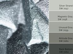 Silver Strand is a cooler color that creates a spa-like and soothing atmosphere. If you like Sea Salt, Silver Strand is very similar in color. Monochromatic Color Scheme, Neutral Paint Colors, Paint Color Schemes, Interior Paint Colors, Paint Colors For Home, Grey Colors, Interior Design, Sherwin Williams Silver Strand, Silver Strand Paint