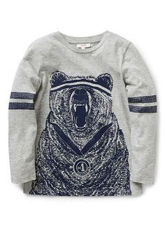 100% cotton jersey long sleeve tee with front bear with medal print and stripe printed sleeve