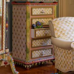 The quirky joy and magic of MacKenzie-Childs from bottom to top. The Farmhouse Dresser is inspired by our very own Farmhouse, and adorned with an array of hand-painted finishes: Parchment Checks™, faux marbling, and faux-tufted crackle finish, accented with brass rosettes, hand decorated ceramic feet and rabbit knobs, and brass- and stone-beaded skirting. Bring the beauty, glory, and tradition that lives right outside our windows into your home. Mackenzie Childs Inspired, Mckenzie And Childs, Furniture Makeover, Painting On Wood, Chalk Paint, Interior Inspiration, Painted Furniture, Home Accessories, Hand Painted