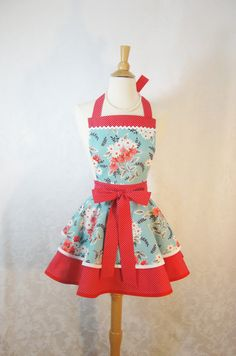 Flirty Doubled Tiered Pinup Apron for Valentines Day in Red and Aqua Flea Market Fancy Fabric - bernicedesigns  #WSPHandmade #Soapmaking