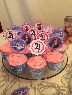 Frozen birthday cupcake toppers printable DYI jpg cake winter Frost frozen Disney Elsa Anna on Etsy, $8.00