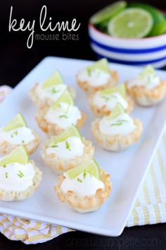 Key Lime Mousse bites. A light dessert that is perfect for summer!