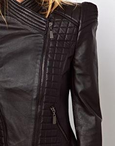 Structured Sleeve Leather Jacket